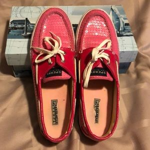 Sperry Bahama Holiday Sequin Pink Size 10